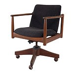 Quality Vintage Black Bean and Wool Swivel Base Adjustable Office Chair