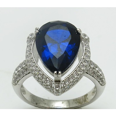 Sterling Silver Ring - Sapphire Blue Cz With White Czs