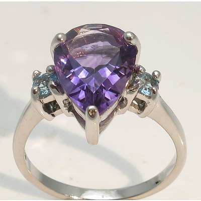 Sterling Silver Ring: Amethyst & Topaz