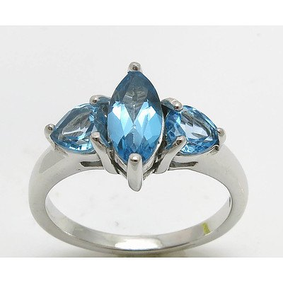Sterling Silver Ring: Blue Topaz