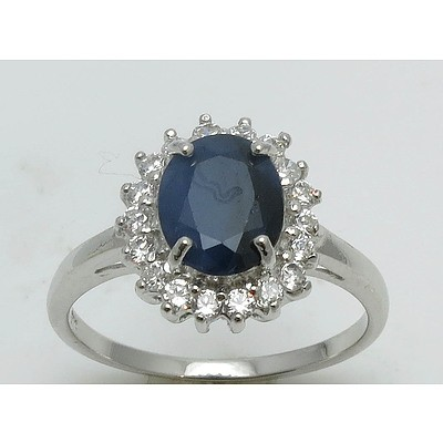 Sterling Silver Ring: Blue Sapphire With Cz Halo