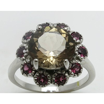 Sterling Silver Ring: Smoky Quartz With Rhodolite Garnet Halo