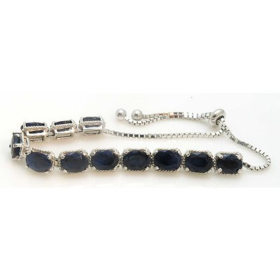 Sterling Silver Bracelet: 11 Sapphires, Enhanced