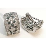 14Ct White Gold Blue & White Diamond Earrings