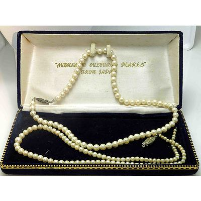 Two Strands Of Cultured Pearls - In Japanese Stamped Box