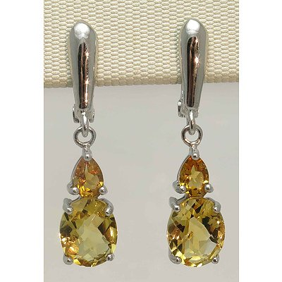Sterling Silver Natural Citrine Earrings