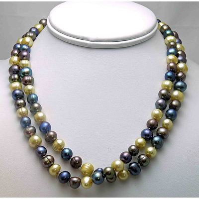 Cultured Pearl Necklace - Multi Coloured