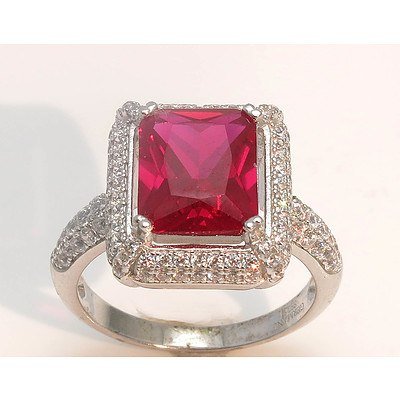 Sterling Silver Ring - Ruby Red Cz, Pave Set With White Czs