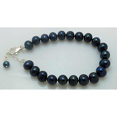 Black Cultured Pearl Bracelet