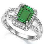 Sterling Silver Ring - Emerald Green Cz, With Pave Set White Czs