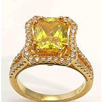 Gold Plated Sterling Silver Ring - Golden Topaz Cz, With Pave Set White Czs