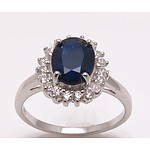 Sterling Silver Sapphire Ring With Cz Halo