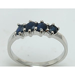 Sterling Silver Ring- Set With 4 Facetted Sapphires