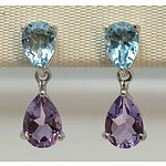 Sterling Silver Natural Gem Earrings
