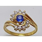 18Ct Gold Natural Sapphire & Diamond Ring: Stamped [18Ct]