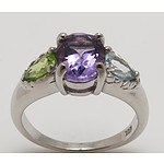 Sterling Silver Natural Gem Dress Ring