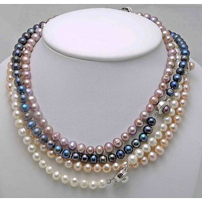 Set Of 4 Cultured Pearl Necklaces