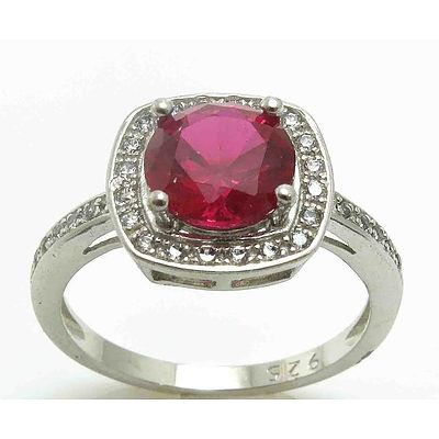 Sterling Silver Dress Ring - Synthetic Ruby With Cz Halo & Shoulders