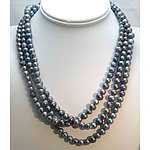 Extra Long Black Fresh-Water Cultured Pearl Necklace