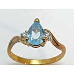9Ct Gold Natural Aquamarine Ring