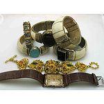 Collection Of Four Bone Bangles, With Paua Shell Bracelet, Armani Watch & Intricate Stone Set Bracelet