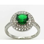 Sterling Silver Dress Ring - Emerald-Green Cz With Cz-Set Double Halo & Shoulders
