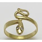 9Ct Gold Snake Ring