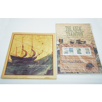 Three Stamp Albums, Including The ANZAC Tradition, Navigators and Shipwrecks and the 1984 Collection