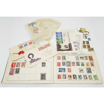 Large Group of Australian and International Stamps, Including 1956 Melbourne Olympics, Red 1d and Green 1/2d Kangaroo Stamps