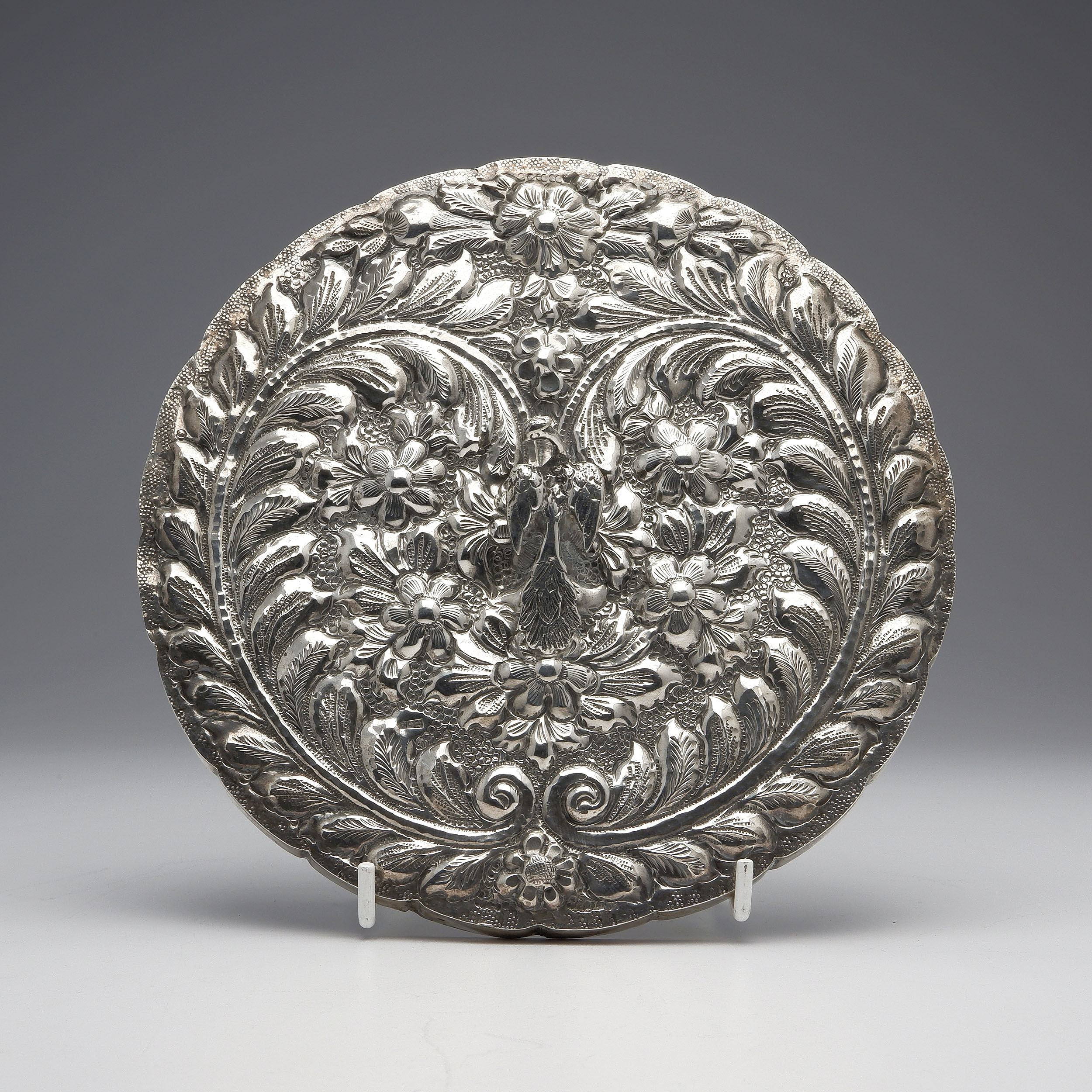 'Persian 900 Silver Heavily Repousse Mirror and Pheasant Form Handle'