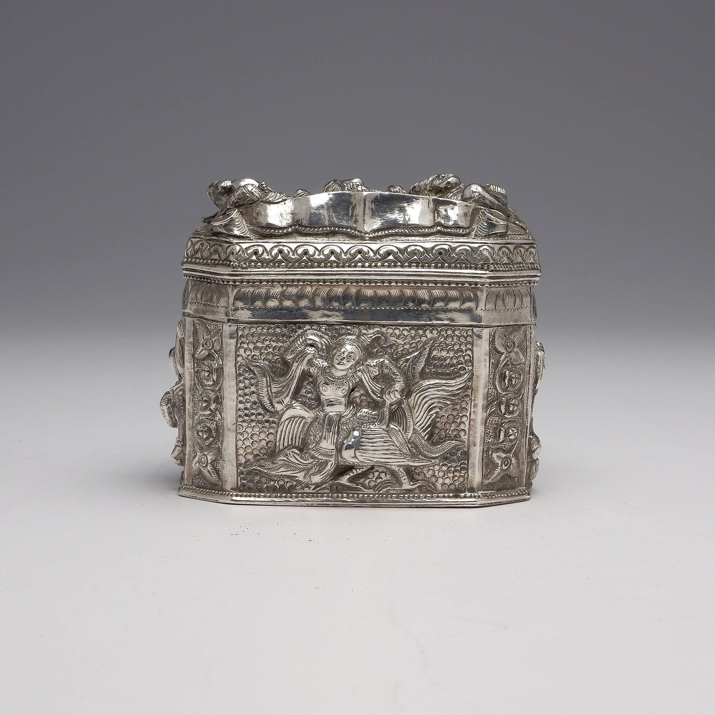 'Burmese Heavily Repousse Silver Box, 215g'
