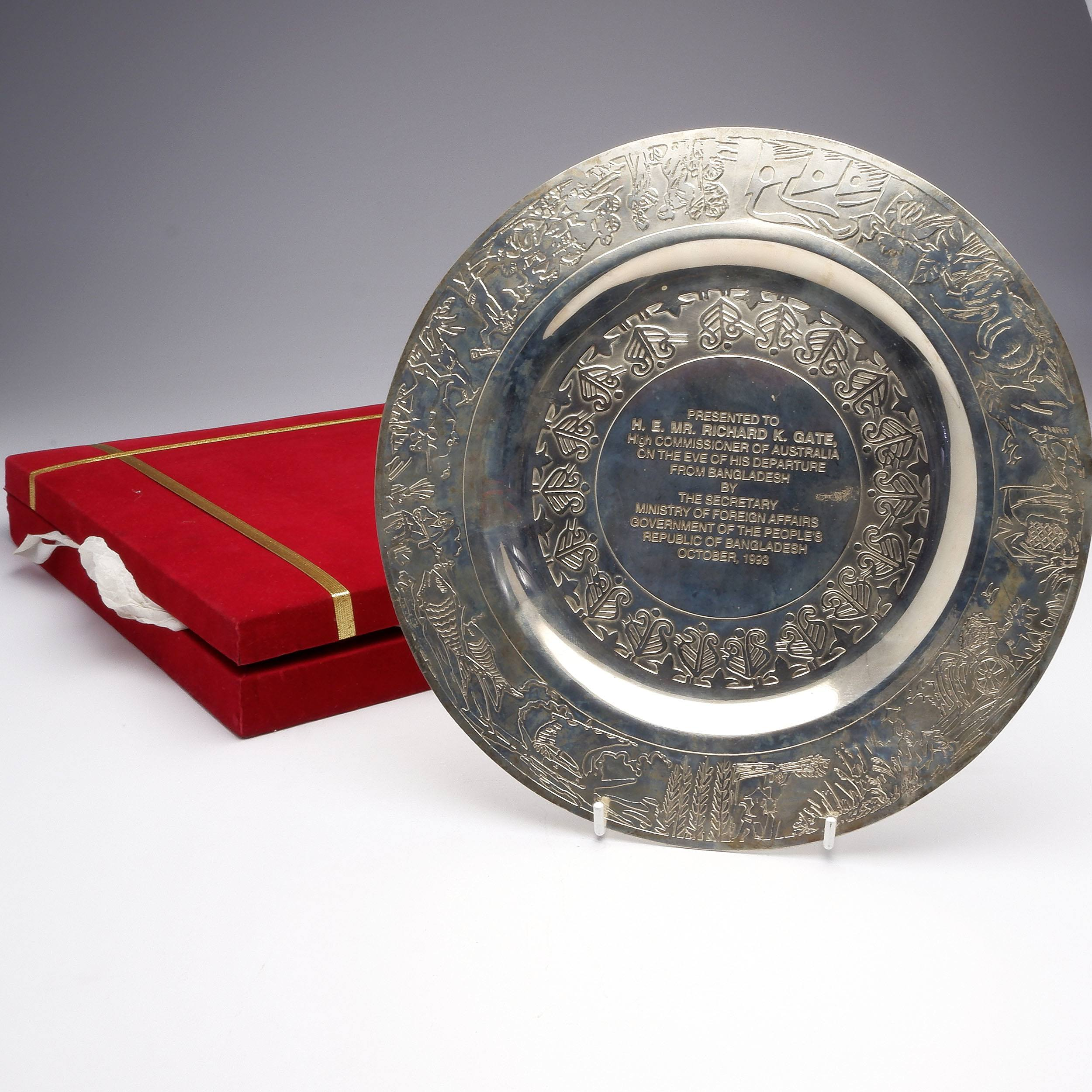 'Silver Charger Presented to Richard Gate on his Departure from Bangladesh 1993'