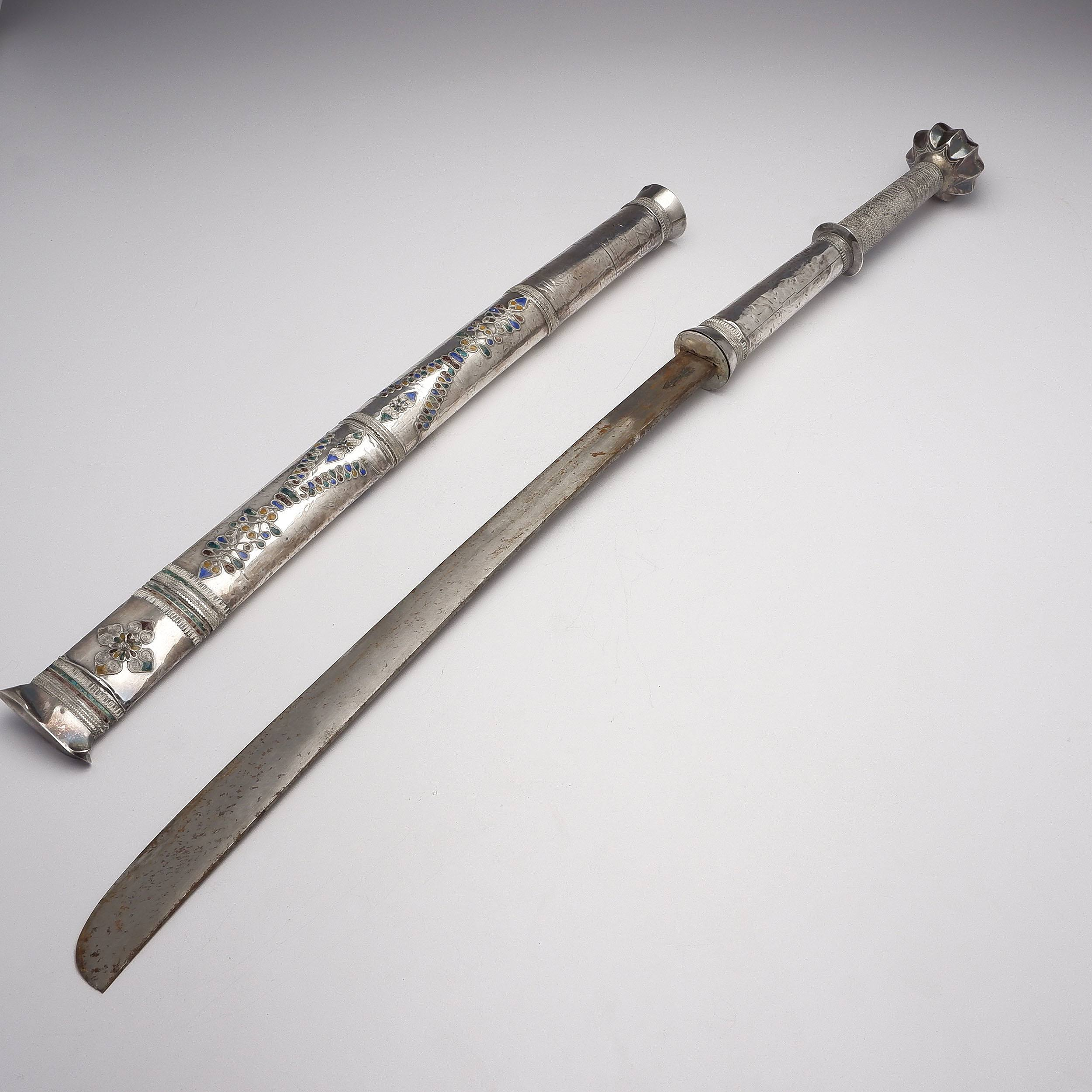 'Burmese Silver Cased Sword with Enamel Decoration'