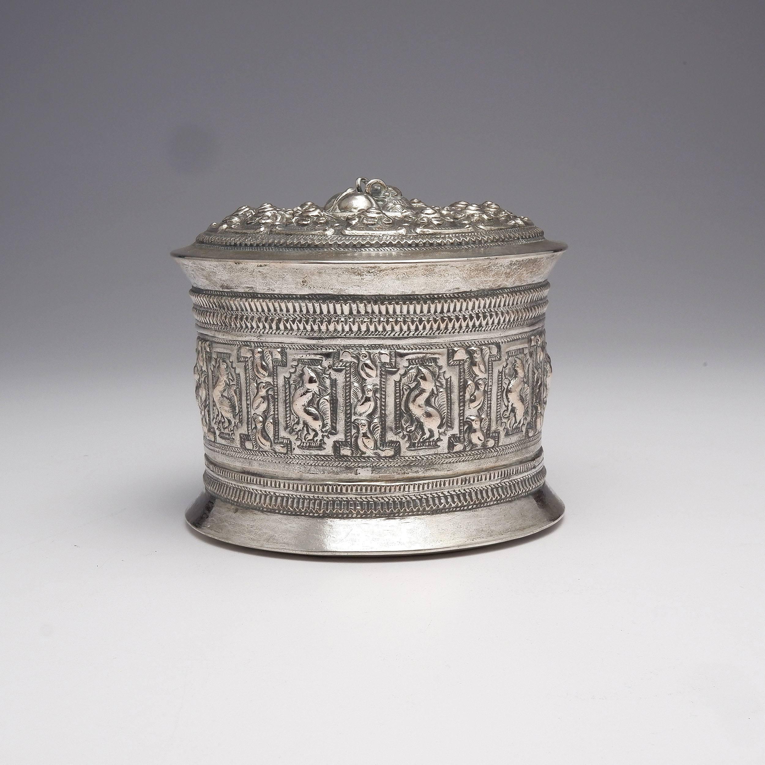 'Burmese Heavily Repousse Silver Box, 420g'
