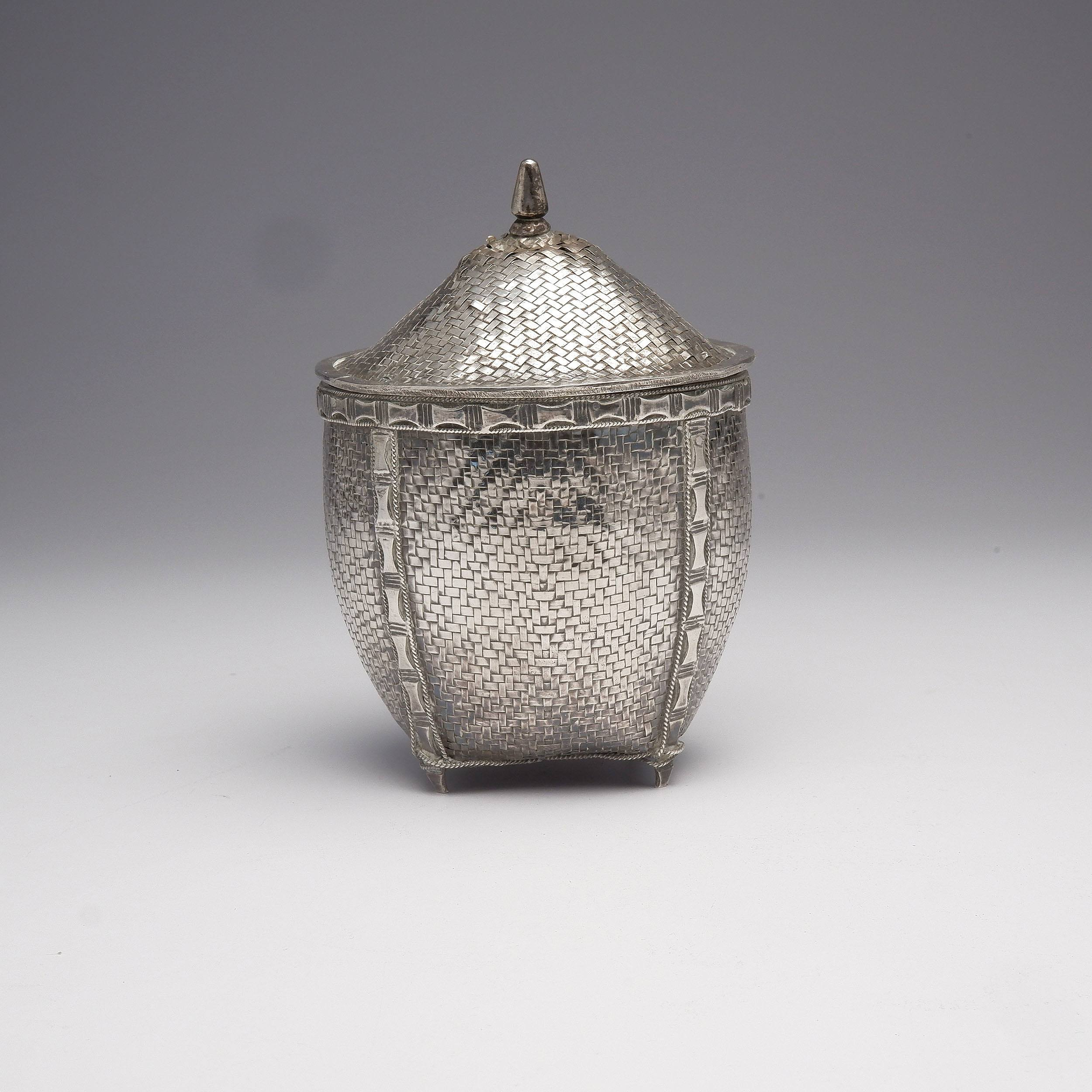 'Burmese Woven Silver Basket and Lid, 207g'