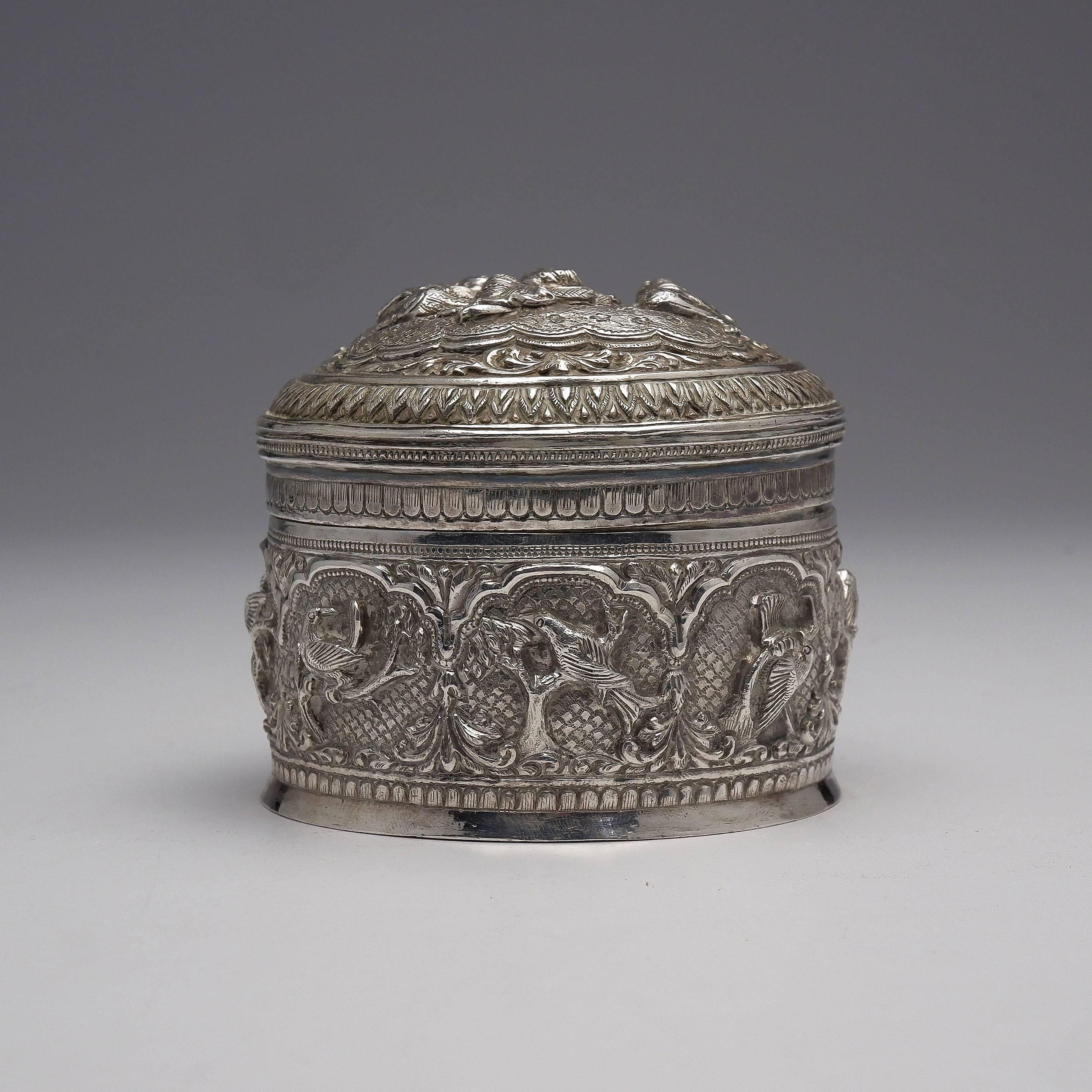 'Burmese Heavily Repousse Silver Box, 175g'