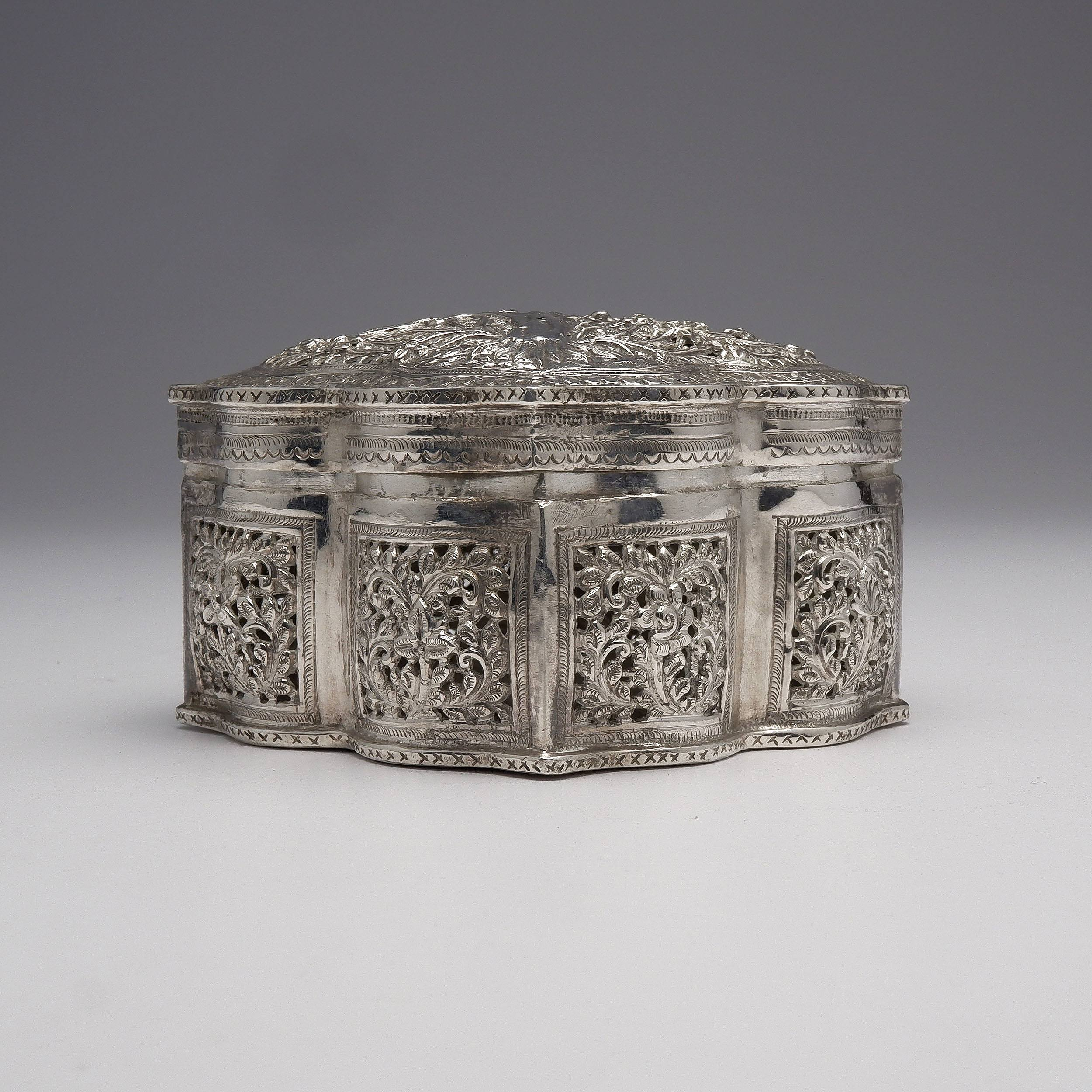 'Suberb Burmese Heavily Repousse and Pierced Silver Box, 242g'