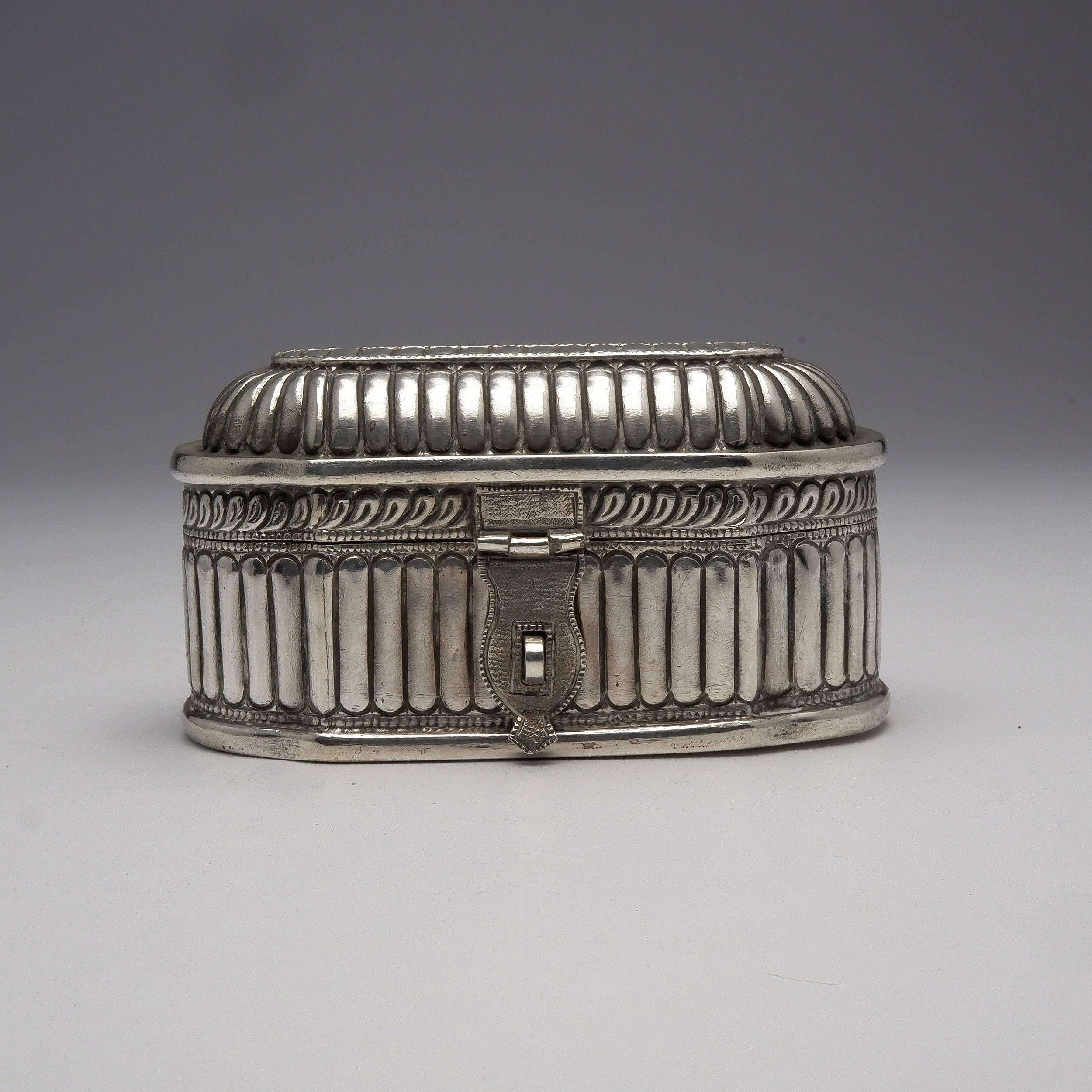 'Burmese Repousse Sterling Silver Box, 306g'