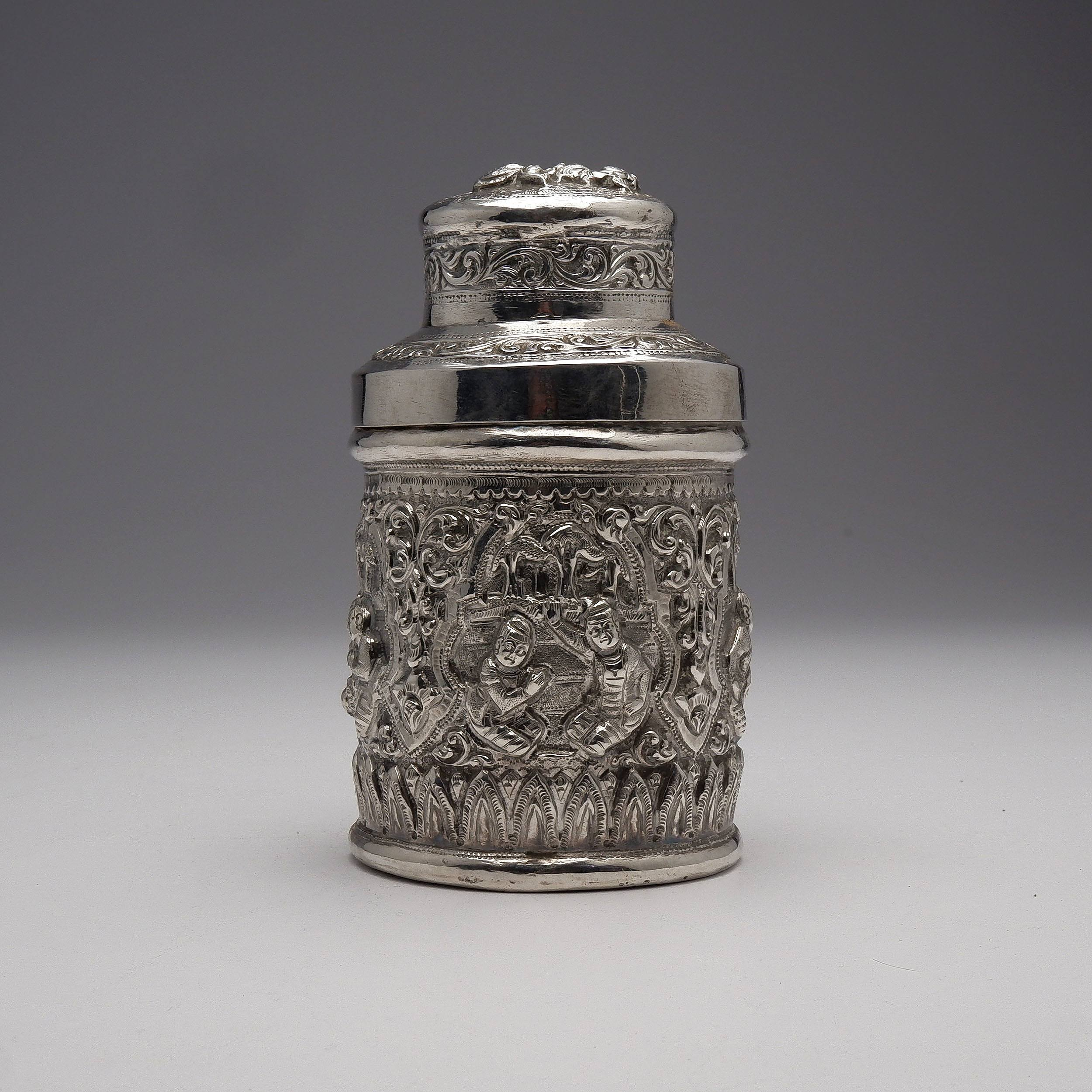 'Burmese Heavily Repousse Silver Container, 171g'