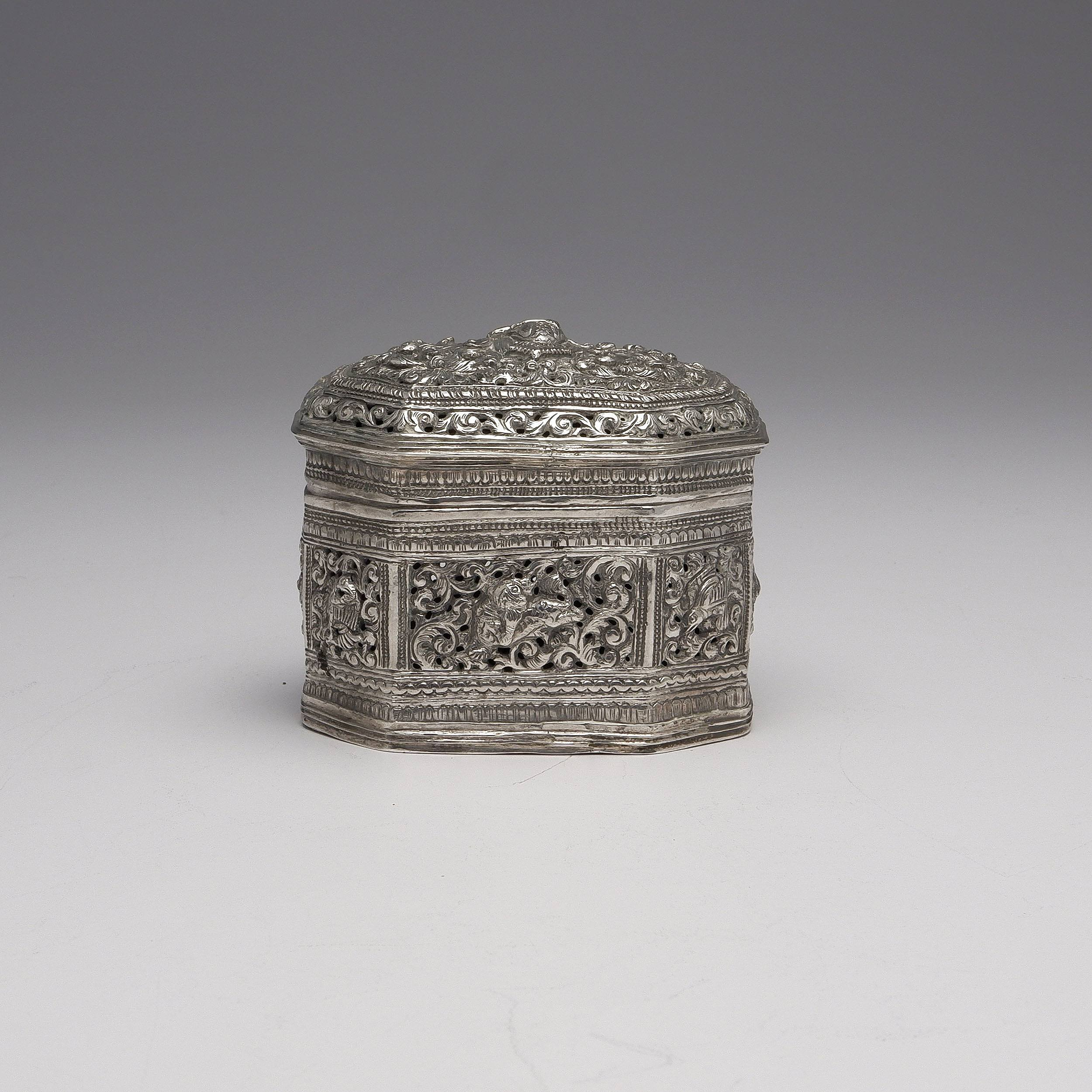 'Burmese Heavily Repousse and Pierced Silver Box, 127g'