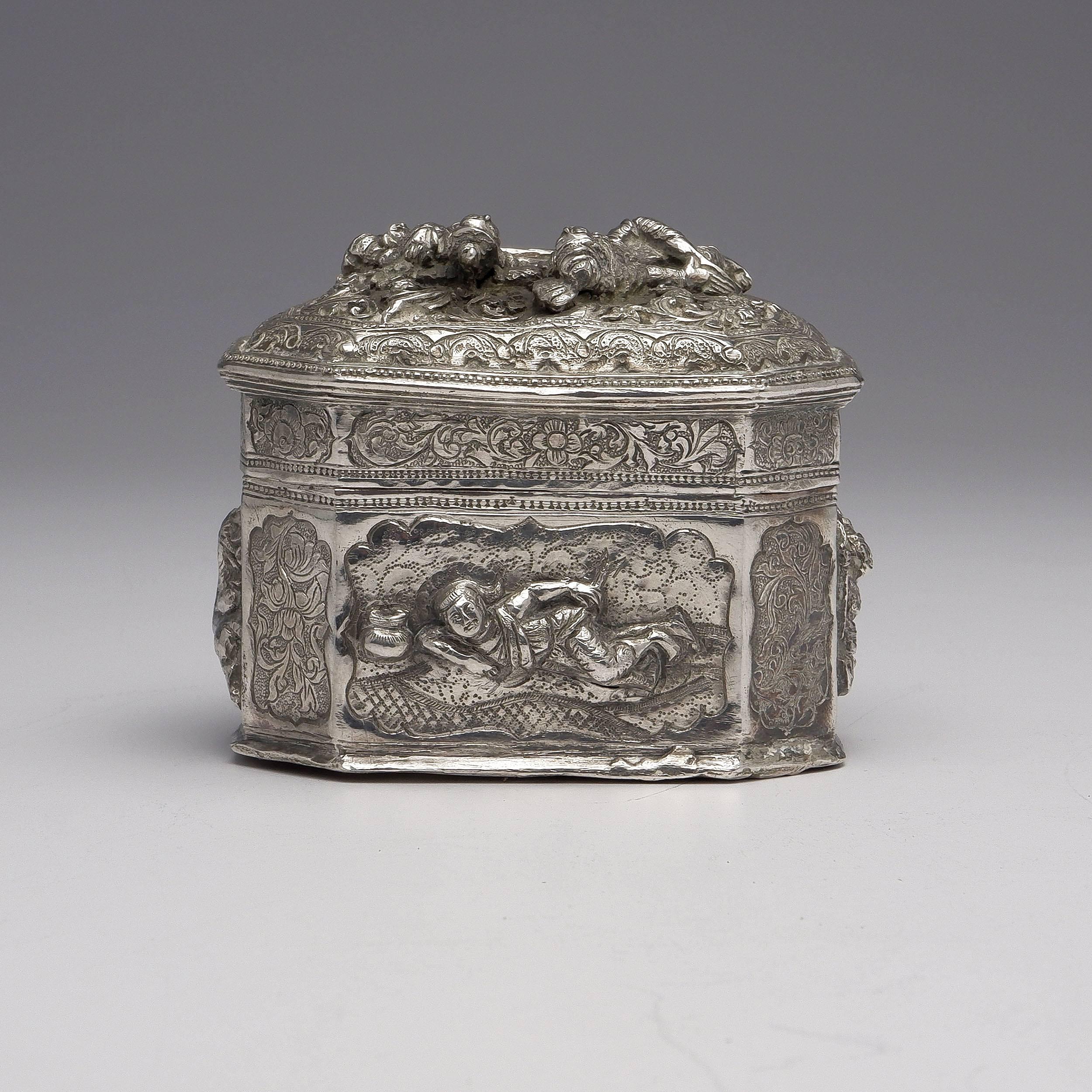 'Burmese Heavily Repousse Silver Box, 169g'
