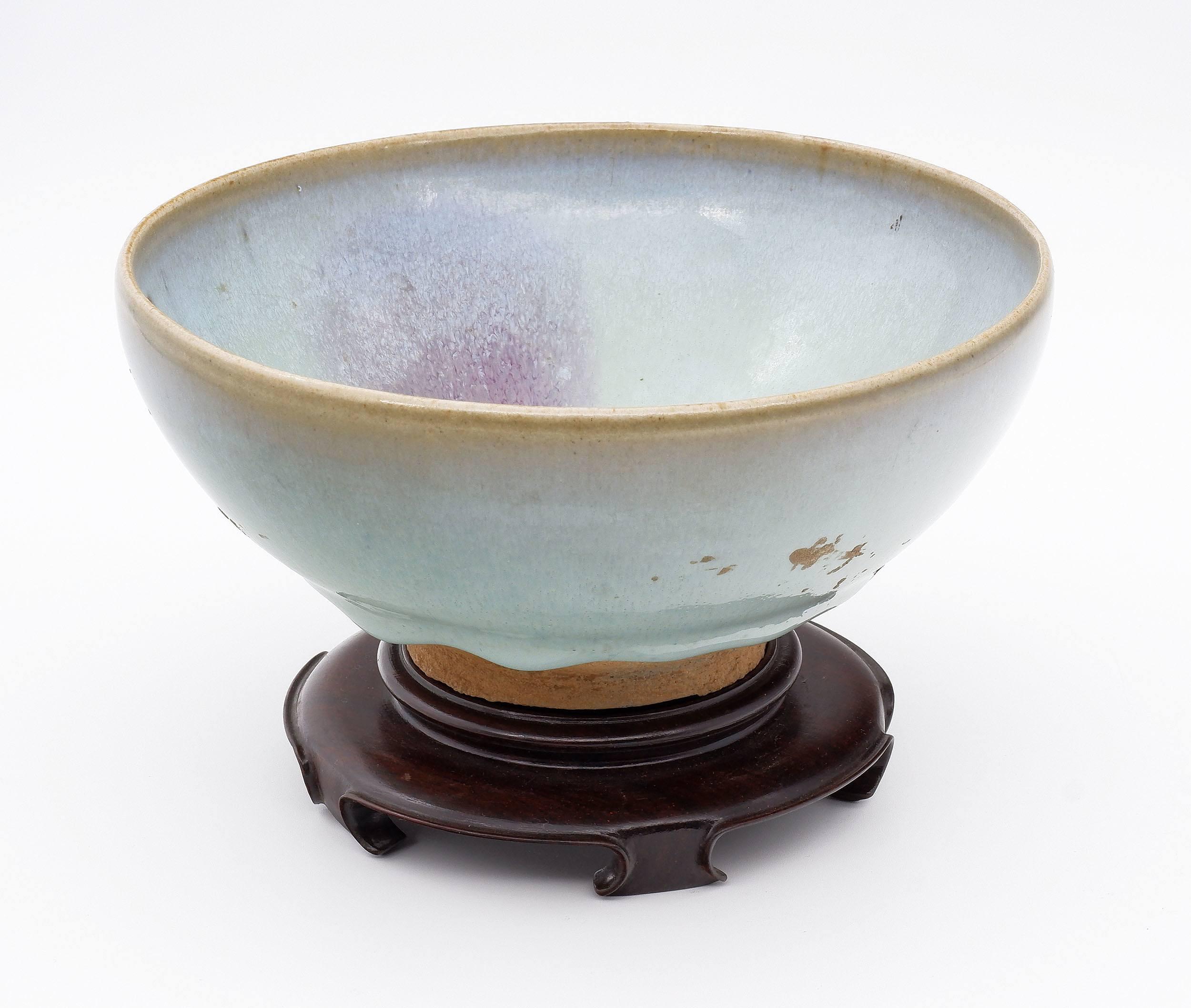 'Chinese Junyao Chun Glaze Bowl with Purple Splash, Possibly Jin to Ming Dynasty'