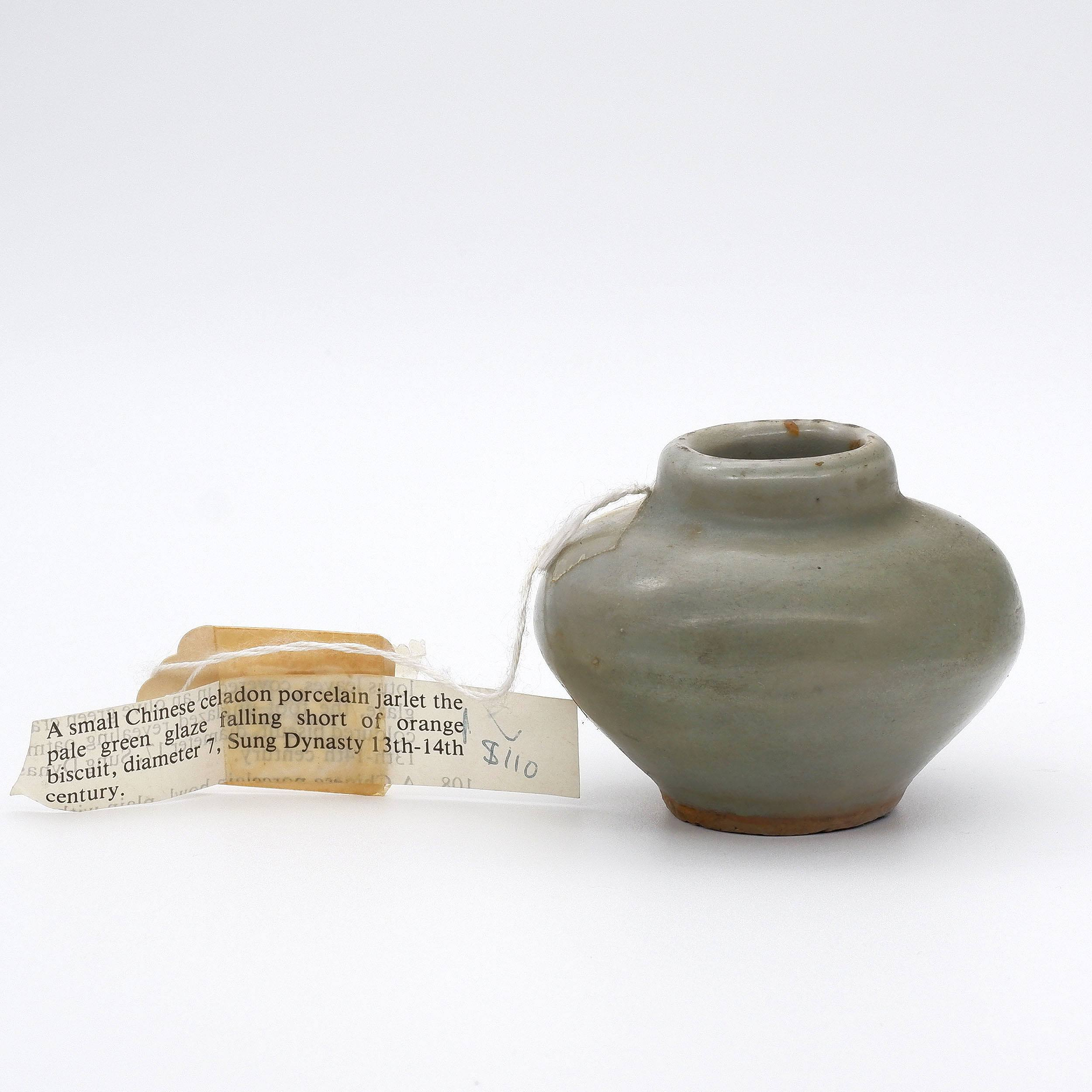 'Small Chinese Celadon Jarlet, Song to Ming Dynasty'
