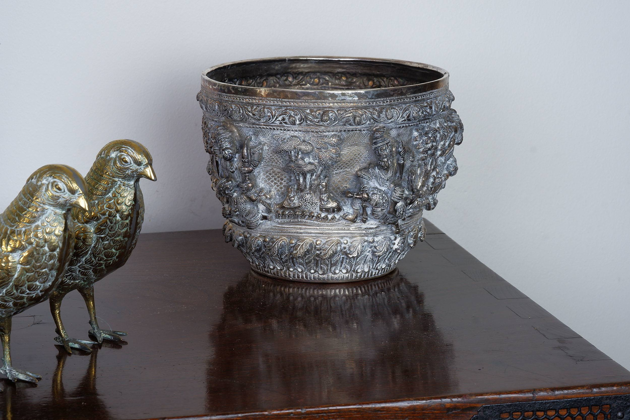 'Burmese Silver Ceremonial Bowl with Heavy Repousse Decoration, 972g'