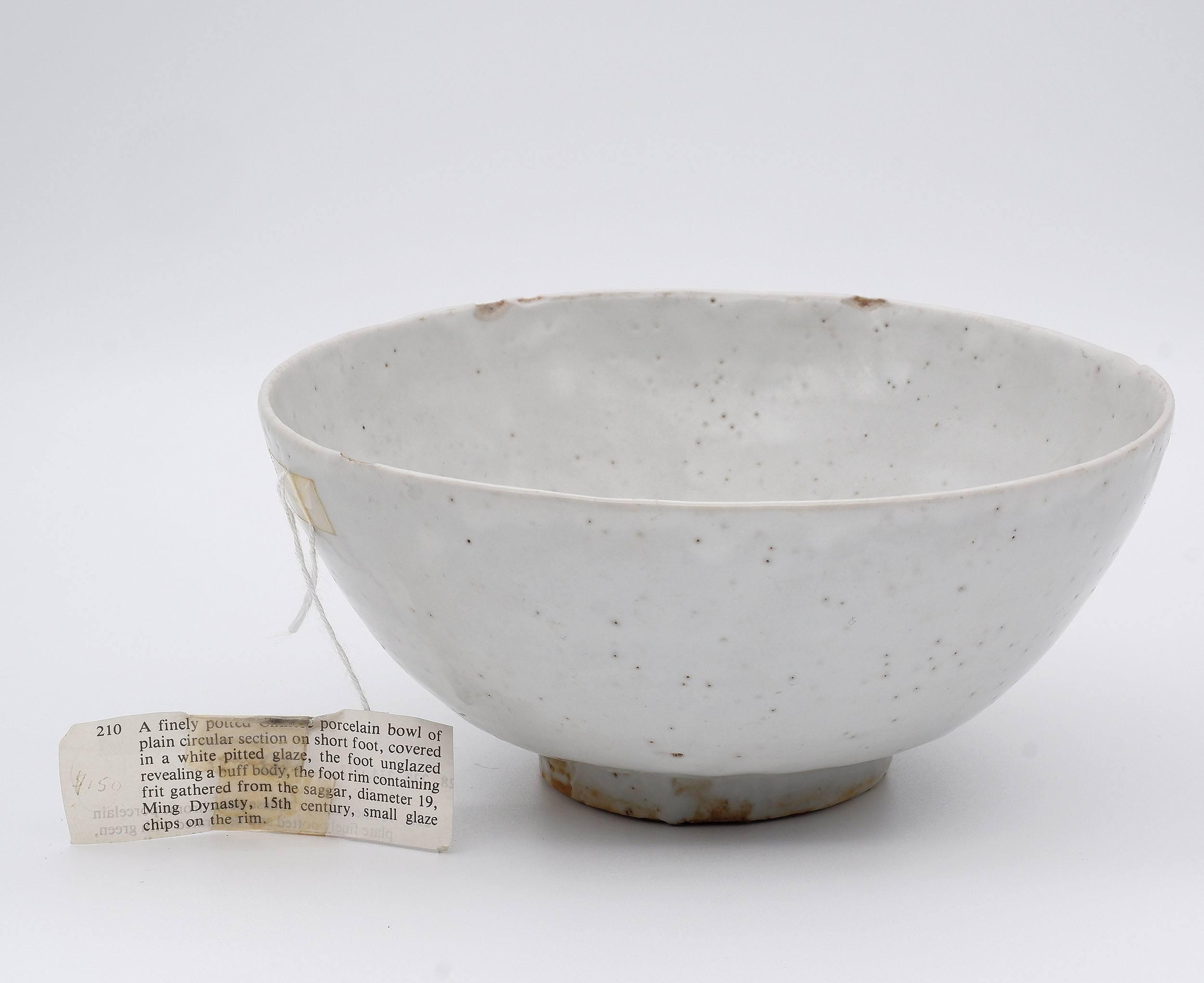 'Chinese Ming Dynasty White Glazed Stoneware Bowl, Ming Dynasty 15th Century'