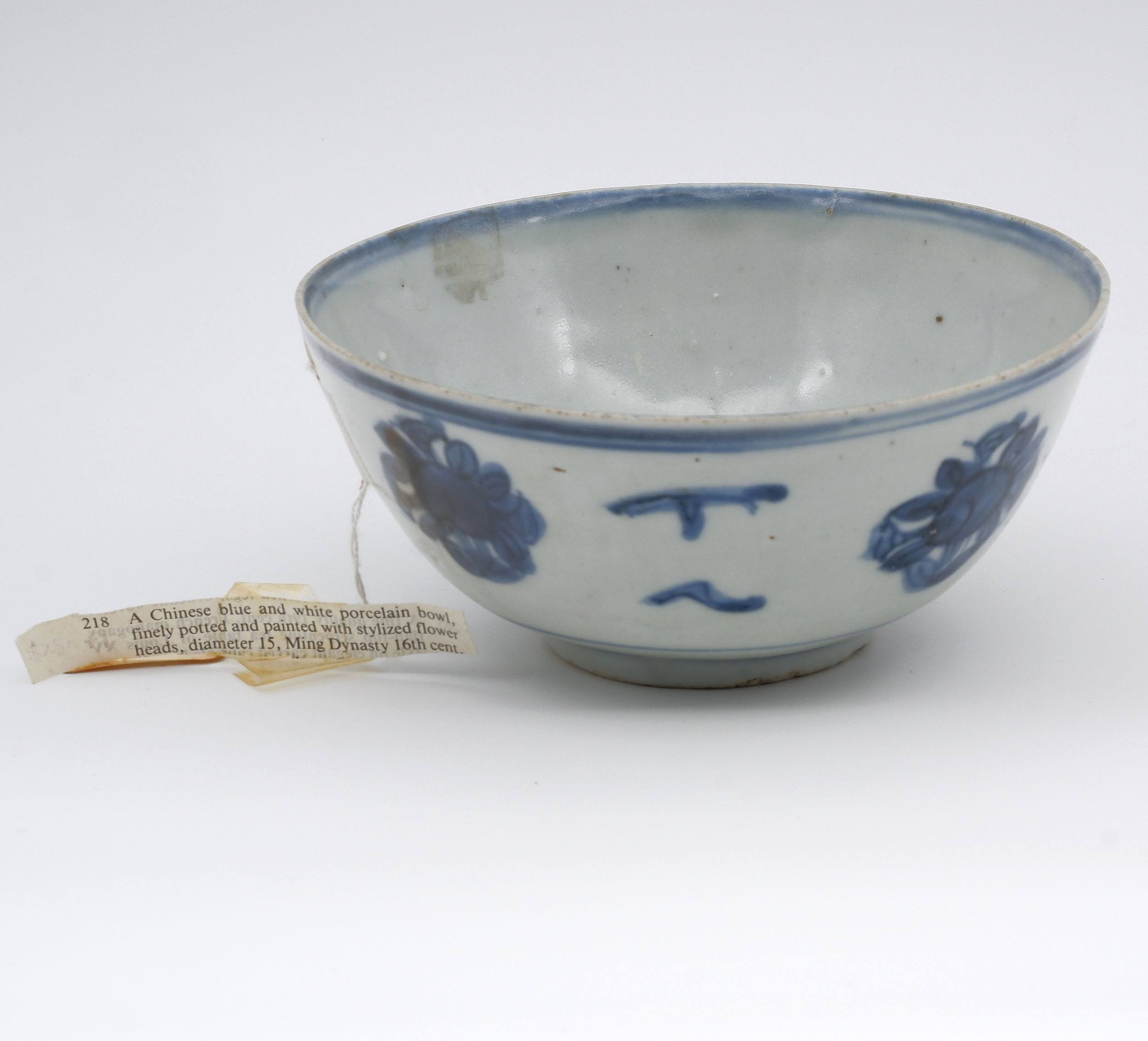 'Chinese Late Ming Blue and White Bowl, 16th Century'