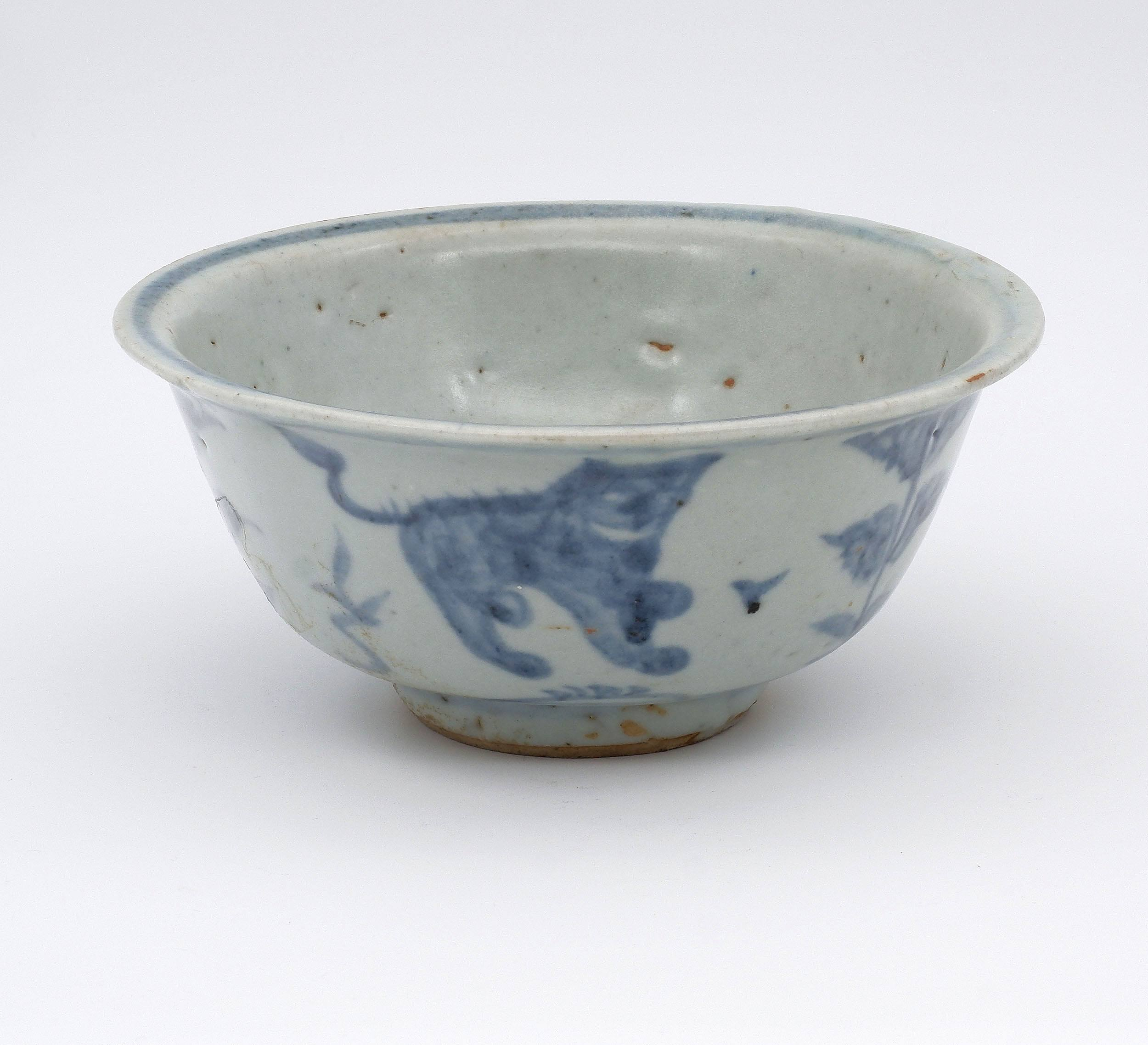 'Chinese Late Ming Blue and White Bowl Decorated with Two Lions, 16th Century'