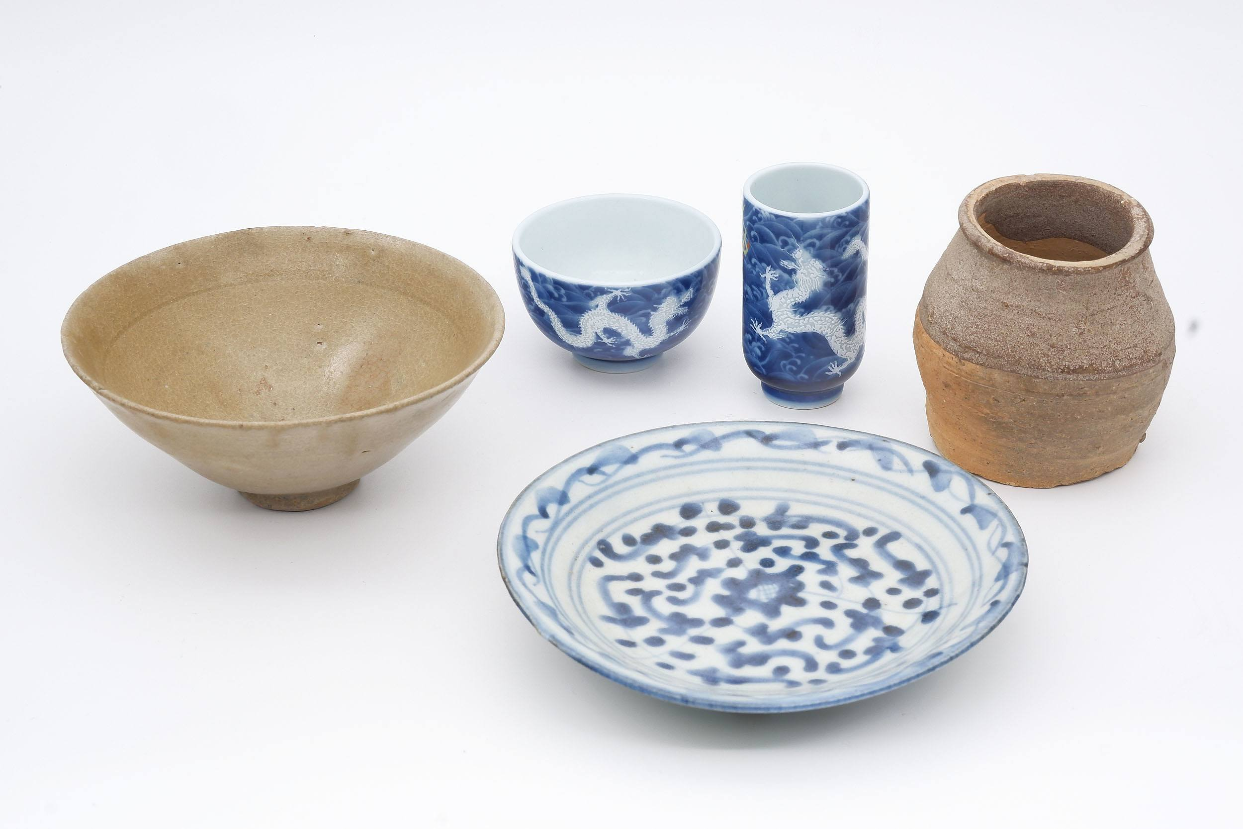 'Small Korean Conical Teabowl Probably Koryo Goryeo Dynasty (918-1392) and a Group of Various Chinese Ceramics'