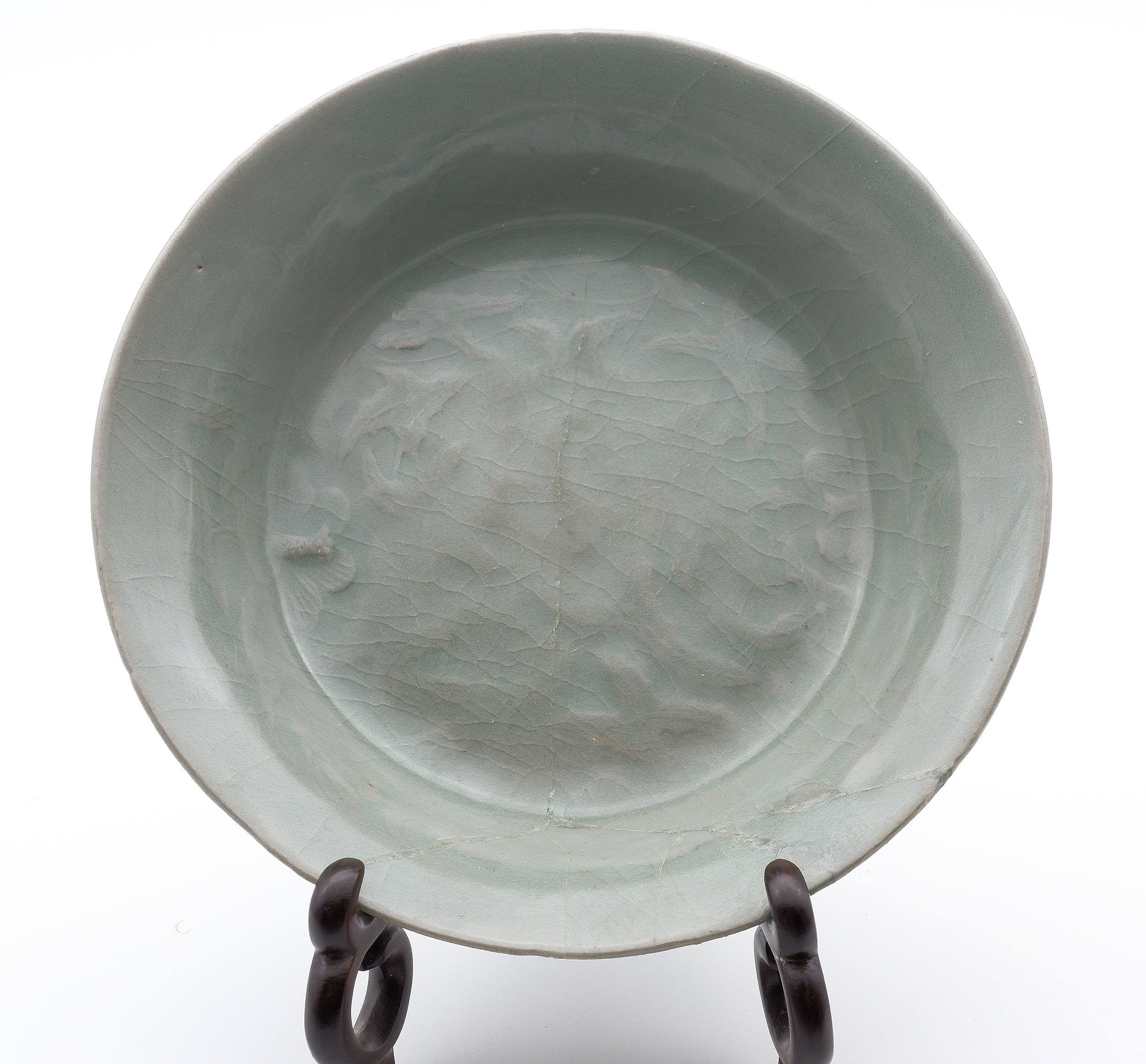 'Korean Celadon Dish with Carved Butterfly and Foliage Decoration, Koryo Goryeo Dynasty (918-1392)'