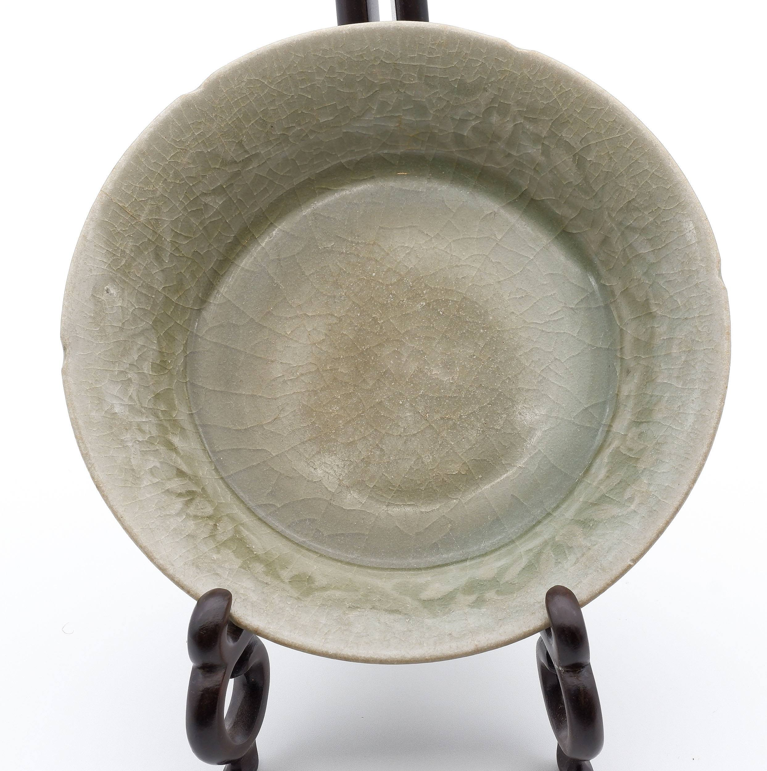 'Korean Celadon Dish with Carved Foliate Decoration, Koryo Goryeo Dynasty (918-1392)'